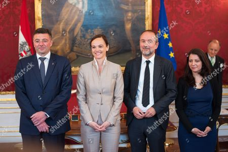 (l-r) Minister For Transport Innovation and Technology Joerg Leichtfried Minister For Education and Former Rector of Viennas University of Veterinary Medicine Sonja Hammerschmid Minister of Culture and Former Ceo of Vereinigte Buehnen Wien Thomas Drozda and Secretary of State and First Member of Austrian Government with Migration Background Muna Duzdar During the Inauguration at the Presidential Office in Vienna Austria on 18 May 2016 Austria Vienna