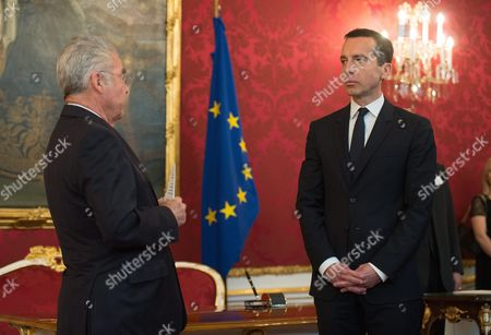 Austrian Chancellor Christian Kern (r) and Austrian President Heinz Fischer (l) During Kern's Inauguration in Vienna Austria 17 May 2016 Christian Kern Has Repleced Former Austrian Chancellor Werner Faymann Austria Vienna