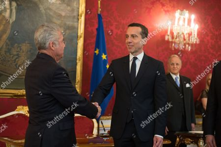 Stock Picture of Austrian Chancellor Christian Kern (r) and Austrian President Heinz Fischer (l) During Kern's Inauguration in Vienna Austria 17 May 2016 Christian Kern Has Repleced Former Austrian Chancellor Werner Faymann Austria Vienna