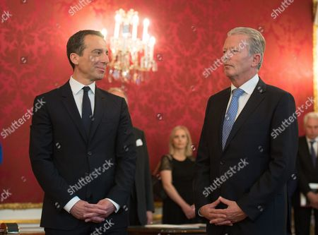 Austrian Chancellor Christian Kern (l) and Austrian Vice Chancellor Reinhold Mitterlehner (r) During Kern's Inauguration in Vienna Austria 17 May 2016 Christian Kern Has Repleced Former Austrian Chancellor Werner Faymann Austria Vienna