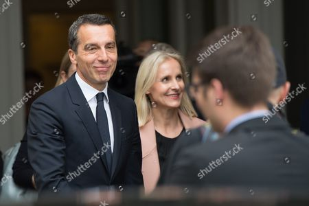 Austrian Chancellor Christian Kern (l) and His Wife Eveline Steinberger Kern (c) Leave the Presidential Office After Kern's Inauguration in Vienna Austria 17 May 2016 Christian Kern Has Replaced Former Austrian Chancellor Werner Faymann Austria Vienna