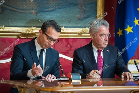 Austrian Chancellor Christian Kern (l) and Austrian President Heinz Fischer (r) During Kern's Inauguration in Vienna Austria 17 May 2016 Christian Kern Has Repleced Former Austrian Chancellor Werner Faymann Austria Vienna