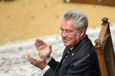 Austrian Outgoing President Heinz Fischer (c) Attends His Retirement Ceremony at the Parliament Building in Vienna Austria 08 July 2016 Fischer's Second Presidential Term Ends on 08 July 2016 Austria Vienna