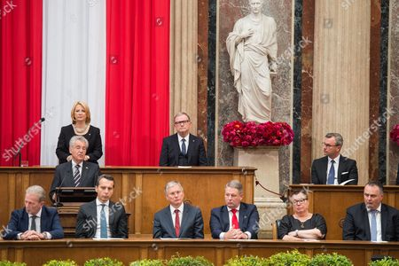 Austrian Outgoing President Heinz Fischer (top L) Delivers a Speech During His Retirement Ceremony at the Parliament Building in Vienna Austria 08 July 2016 Fischer's Second Presidential Term Ends on 08 July 2016 Austria Vienna