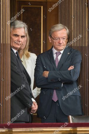 Stock Photo of Former Austrian Chancellors Werner Faymann (l) and Wolfgang Schuessel (r) Arrive For Austrian Outgoing President Heinz Fischer's Retirement Ceremony at the Parliament Building in Vienna Austria 08 July 2016 Fischer's Second Presidential Term Ends on 08 July 2016 Austria Vienna