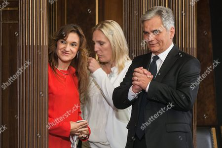 Stock Image of Former Austrian Chancellor Werner Faymann (r) with Unidentified Arrives During Austrian Outgoing President Heinz Fischer's Retirement Ceremony at the Parliament Building in Vienna Austria 08 July 2016 Fischer's Second Presidential Term Ends on 08 July 2016 Austria Vienna