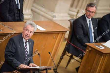 Austrian Outgoing President Heinz Fischer (c) Delivers a Speech During His Retirement Ceremony at the Parliament Building in Vienna Austria 08 July 2016 Fischer's Second Presidential Term Ends on 08 July 2016 Austria Vienna