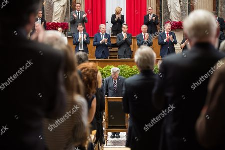 Austrian Outgoing President Heinz Fischer (c) Takes a Bow During His Retirement Ceremony at the Parliament Building in Vienna Austria 08 July 2016 Fischer's Second Presidential Term Ends on 08 July 2016 Austria Vienna