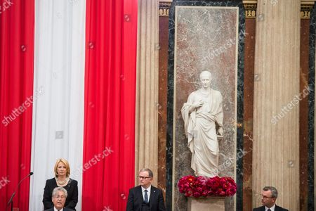 Austrian Outgoing President Heinz Fischer (l) Delivers a Speech During His Retirement Ceremony at the Parliament Building in Vienna Austria 08 July 2016 Fischer's Second Presidential Term Ends on 08 July 2016 Austria Vienna