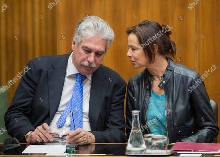 Stock Image of Austrian Finance Minister Hans Joerg Schelling (l) Talks to Family Minister Sophie Karmasin (r) Prior a Speech of United Nations (u N ) Secretary-general Ban Ki-moon in the Parliament in Vienna Austria on 28 April 2016 Ban Ki-moon is on an Official Visit to Austria From 26 to 29 April 2016 Austria Vienna