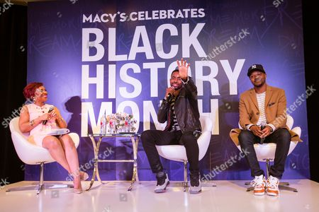 Renel Brooks-Moon, Jay Ellis, BJ The Chicago Kid Insecure actor Jay Ellis, center, makes a point during a panel discussion with host Renel Brooks-Moon, left, and Grammy-nominated artist BJ The Chicago Kid, right, at the Macy's Celebrates Black History Month event, at Macy's Union Square in San Francisco, Calif. As part of Macy's Black History Month celebrations, Grammy-nominated artist BJ The Chicago Kid, Insecure actor Jay Ellis, Queen of Everything RyanNicole joined host Renel Brooks-Moon in a conversation focused on the influence and impact of black culture on all facets of American life