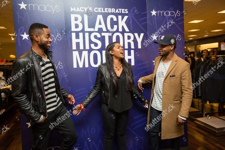 Jay Ellis, BJ The Chicago Kid A guest laughs with Grammy-nominated artist BJ The Chicago Kid, right, and Insecure actor Jay Ellis,left, during a meet and greet following a panel discussion at the Macy's Celebrates Black History Month event, at Macy's Union Square in San Francisco, Calif. As part of Macy's Black History Month celebrations, Grammy-nominated artist BJ The Chicago Kid, Insecure actor Jay Ellis, Queen of Everything RyanNicole joined host Renel Brooks-Moon in a conversation focused on the influence and impact of black culture on all facets of American life