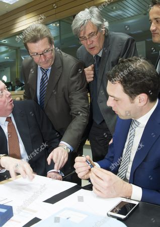 (l-r) Minister of State at the Federal Foreign Office of Germany Michael Roth French Minister For Agriculture Stephane Le Foll and Dutch Minister of Agriculture Martijn Van Dam (r) Chat During a European Agriculture Ministers' Council Meeting in Brussels Belgium 14 March 2016 Belgium Brussels