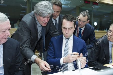 French Minister For Agriculture Stephane Le Foll (2-l) Chats with Dutch Minister of Agriculture Martijn Van Dam (c Seated) During a European Agriculture Ministers' Council Meeting in Brussels Belgium 14 March 2016 Others Are not Identified Belgium Brussels