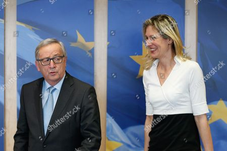 German Eu Deputy Silvana Koch-mehrin (r) is Welcomed by the President of the European Commission Jean-claude Juncker at the European Commission in Brussels Belgium 10 March 2016 Belgium Brussels