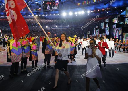 Swimmer Stephanie Au of Hong Kong Carries the Hong Kong Flag During the Opening Ceremony of the Rio 2016 Olympic Games in Rio De Janeiro Brazil 05 August 2016 Brazil Rio De Janeiro