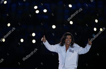 Stock Picture of Brazilian Actress and Presenter Regina Case Gestures Prior to the Opening Ceremony of the Rio 2016 Olympic Games at the Maracana Stadium in Rio De Janeiro Brazil 05 August 2016 Brazil Rio De Janeiro