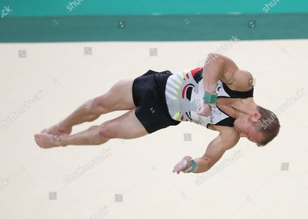 Artistic Gymnast Fabian Hamb?chen From Germany Practice on the Floor During a Training Session For the Rio 2016 Olympic Games Artistic Gymnastics Events at the Rio Olympic Arena in Barra Da Tijuca Rio De Janeiro Brazil 03 August 2016 Brazil Rio De Janeiro