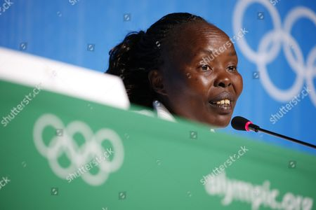 Tegla Loroupe a Refugee From South Sudan Speaks at a Press Conference of the Refugee Team in Rio De Janeiro Brazil 31 July 2016 the 2016 Olympic Games Start on 05 August Brazil Rio De Janeiro