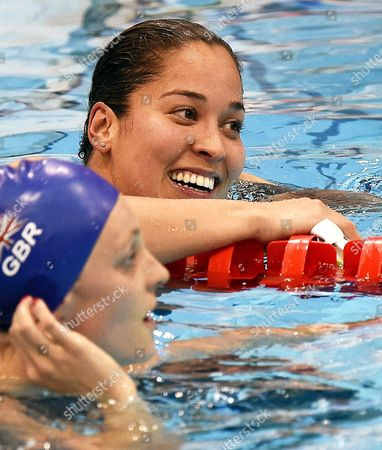 Ranomi Kromowidjojo (back) of the Netherlands Reacts Next to Second Placed Francesca Halsall (l) of Britain After Winning the Gold Medal in the Women's 50m Freestyle Final at the Len European Aquatics Championships 2016 in London Britain 22 May 2016 United Kingdom London