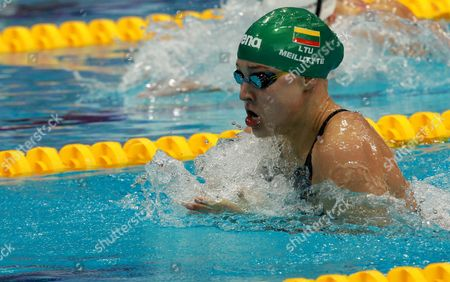 Ruta Meilutyte of Lithuania in Action on Her Way to Win the Gold Medal in the Women's 100 M Breaststroke Final of the Len European Aquatics Championships 2016 in London Britain 18 May 2016 United Kingdom London