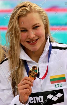 Ruta Meilutyte of Lithuania Celebrates Winning the Gold Medal in the Women's 100 M Breaststroke Final of the Len European Aquatics Championships 2016 in London Britain 18 May 2016 United Kingdom London