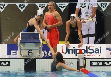Britain's Francesca Halsall (bottom) Celebrates with Her Teammates After Winning the Gold Medal in the Women's 4x100m Medley Relay Final at the Len European Aquatics Championships 2016 in London Britain 22 May 2016 United Kingdom London