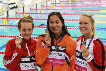 Gold Medalist Ranomi Kromowidjojo (c) of the Netherlands is Flanked by Silver Medalist Francesca Halsall (l) of Britain and Bronze Medalist Jeanette Ottesen (r) of Denmark After Winning the Women's 50m Freestyle Final at the Len European Aquatics Championships 2016 in London Britain 22 May 2016 United Kingdom London