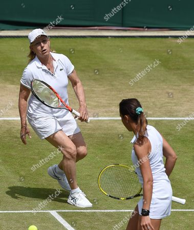 Former Champion Martina Navratilova in Action As She and Selimar Sfar Play Jana Novotna and Helena Sukova in the Ladies' Invitation Doubles During the Wimbledon Championships at the All England Lawn Tennis Club in London Britain 05 June 2016 United Kingdom Wimbledon