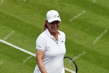 Stock Photo of Former Champion Martina Navratilova in Action As She and Selimar Sfar Play Jana Novotna and Helena Sukova in the Ladies' Invitation Doubles During the Wimbledon Championships at the All England Lawn Tennis Club in London Britain 05 June 2016 United Kingdom Wimbledon
