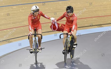 Tianshi Zhong (l) and Lin Junhong (r) of China Celebrate After Winning Gold and Silver Medals in the Womens Sprint at the 2016 Uci Track Cycling World Championships in London Britain 06 March 2016 United Kingdom London