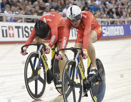 Stock Picture of Tianshi Zhong (r) and Lin Junhong (l) of China in Action During Womens Sprint at the 2016 Uci Track Cycling World Championships in London Britain 06 March 2016 Epa/facundo Arrizabalaga United Kingdom London