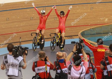 Gold Medal Winner Tianshi Zhong (l) From China and Silver Medal Winner Lin Junhong Also From China After the Women's Sprint Race at the 2016 Uci Track Cycling World Championships in London Britain 06 March 2016 United Kingdom London