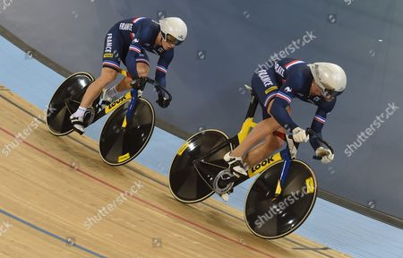 Stock Photo of France's Michael D'almeida (left) and Kevin Sireau (right) During the Men's Team Sprint Final For Bronze Race at the 2016 Uci Track Cycling World Championships in London Britain 02 March 2016 United Kingdom London