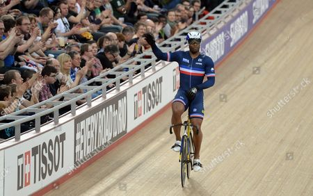 France's Gregory Bauge Celebrates After Competing During Men's Sprint Quarterfinal's at the 2016 Uci Track Cycling World Championships in London Britain 05 March 2016 United Kingdom London