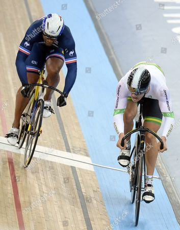 France's Gregory Bauge (left) and Australia's Matthew Glaetzer (right) Compete During Men's Sprint Quarterfinal's at the 2016 Uci Track Cycling World Championships in London Britain 05 March 2016 United Kingdom London