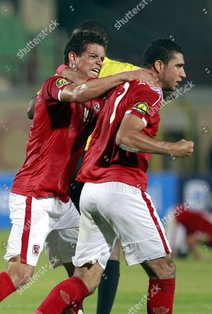 Al Ahly's Ramy Rabia (r) and Saad Samir (l) Reacts After Scoring a Goal During the African Champions League (caf) Group Stage Match Between Al-ahly and Zesco United in Suez Egypt 12 August 2016 Egypt Suez
