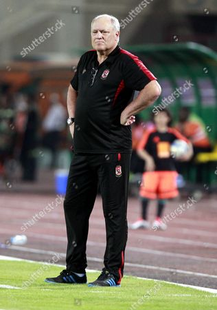 Al-ahly Coach Manager Martin Jol During the African Champions League (caf) Grou Stage Match Between Al Ahly and Zesco United at Military Stadium in Suez Egypt 12 August 2016 Egypt Suez