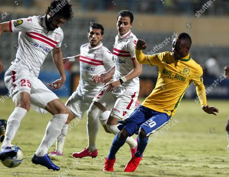 Zamalek's Player Ali Gabr (l) in Action Against Sundowns' Khama Billiat (r) During Their African Champions League (caf) Group Stage Soccer Match at Petro Sport Stadium in Cairo Egypt 17 July 2016 Egypt Cairo