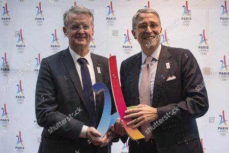 Co-president of the French National Olympic and Sports Committee Bernard Lapasset (l) and Vivendi Directory President Arnaud De Puyfontaine (r) Pose For Photographs Before the Meeting of French Companies and Official Partners of the Paris Bid For the 2024 Summer Olympics at the Restaurant 'Les Ombres' in Paris France 30 May 2016 France Paris