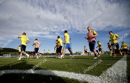 Stock Picture of Ukraine's Anatoliy Tymoshchuk (2nd R) During a Training Session at Complexe Sportif Carcassonne Aix-en-provence France 20 June 2016 Ukraine Will Face Poland in the Final Uefa Euro 2016 Group C Match at the Stade Velodrome in Marseille on 21 June France Aix-en-provence