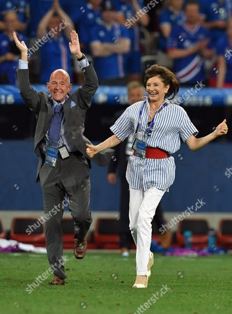Iceland's First Lady Dorrit Moussaieff (r) Celebrates After the Uefa Euro 2016 Round of 16 Match Between England and Iceland at Stade De Nice in Nice France 27 June 2016 (restrictions Apply: For Editorial News Reporting Purposes Only not Used For Commercial Or Marketing Purposes Without Prior Written Approval of Uefa Images Must Appear As Still Images and Must not Emulate Match Action Video Footage Photographs Published in Online Publications (whether Via the Internet Or Otherwise) Shall Have an Interval of at Least 20 Seconds Between the Posting ) France Nice