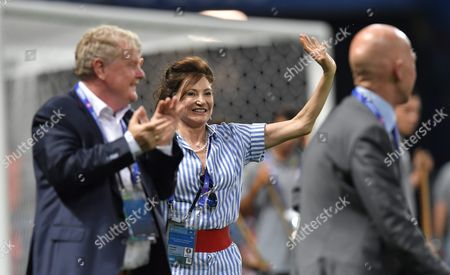 Iceland's First Lady Dorrit Moussaieff (c) Celebrates After the Uefa Euro 2016 Round of 16 Match Between England and Iceland at Stade De Nice in Nice France 27 June 2016 (restrictions Apply: For Editorial News Reporting Purposes Only not Used For Commercial Or Marketing Purposes Without Prior Written Approval of Uefa Images Must Appear As Still Images and Must not Emulate Match Action Video Footage Photographs Published in Online Publications (whether Via the Internet Or Otherwise) Shall Have an Interval of at Least 20 Seconds Between the Posting ) France Nice