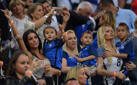 Ludivine Sagna (l) Wife of France Player Bacary Sagna and Ludivine Payet (2-r) Wife of France Player Dimitri Payet with Their Children in the Stands During the Uefa Euro 2016 Group a Preliminary Round Match Between France and Albania at Stade Velodrome in Marseille France 15 June 2016 (restrictions Apply: For Editorial News Reporting Purposes Only not Used For Commercial Or Marketing Purposes Without Prior Written Approval of Uefa Images Must Appear As Still Images and Must not Emulate Match Action Video Footage Photographs Published in Online Publications (whether Via the Internet Or Otherwise) Shall Have an Interval of at Least 20 Seconds Between the Posting ) France Marseille