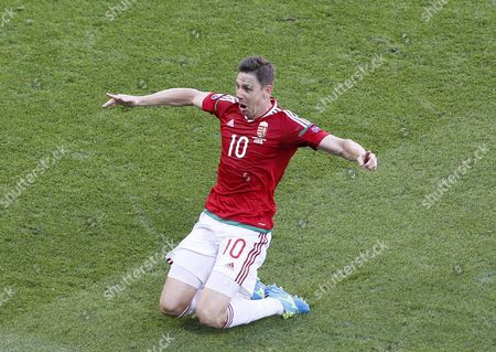 Zoltan Gera of Hungary Celebrates After Scoring the 1-0 Goal During the Uefa Euro 2016 Group F Preliminary Round Match Between Hungary and Portugal at Stade De Lyon in Lyon France 22 June 2016 (restrictions Apply: For Editorial News Reporting Purposes Only not Used For Commercial Or Marketing Purposes Without Prior Written Approval of Uefa Images Must Appear As Still Images and Must not Emulate Match Action Video Footage Photographs Published in Online Publications (whether Via the Internet Or Otherwise) Shall Have an Interval of at Least 20 Seconds Between the Posting ) France Lyon