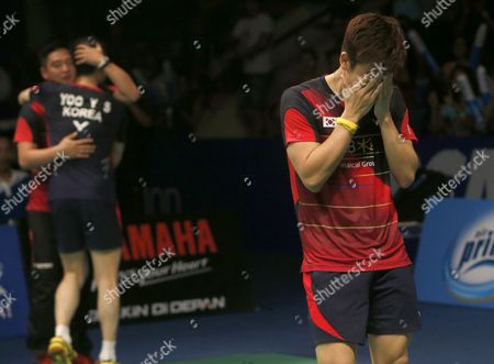 Stock Image of Korean Lee Yong Dae (r) and Yoo Yeon Seong (l) Jubilate After Defeating Chai Biao and Hong Wei of China During Their Men's Double Final Match at the Bca Indonesia Open Badminton in Jakarta Indonesia 05 June 2016 Indonesia Jakarta