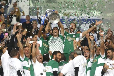 Yossi Benayoun (c) of Maccabi Haifa Holding Cup After Winning Against Maccabi Tel Aviv During the State Cup Final at Teddy Stadium in Jerusalem Israel 24 May 2016 Israel Jerusalem