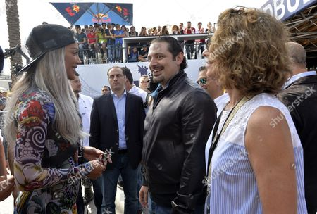 Lebanese Singer Maya Diab (l) Former Lebanese Premier and Future Movement Leader Mp Saad Hariri (c) and Lama Salam (r) Wife of Prime Minister Tammam Salam Attend the Toro Rosso Formula 1 During a Promotional Event at the Beirut Cultural Festival in Beirut Lebanon 22 May 2016 Lebanon Beirut