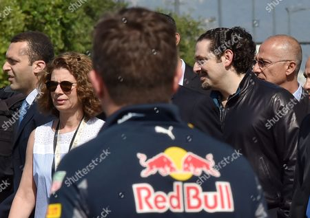 Former Lebanese Premier and Future Movement Leader Mp Saad Hariri (r) and Lama (l) Wife of Prime Minister Tammam Salam Attend the Toro Rosso Formula 1 During a Promotional Event at the Beirut Cultural Festival in Beirut Lebanon 22 May 2016 Lebanon Beirut