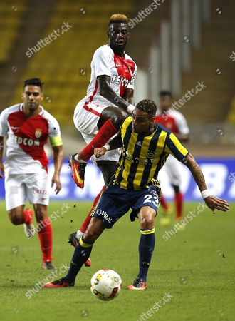 Tiemoue Bakayoko of As Monaco (l) Vies For the Ball with Gregory Van Der Wiel of Fenerbahce (r) During the Uefa Champions League Third Round Qualifying Second Leg Match Between As Monaco and Fenerbahce at Stade Louis Ii in Monaco 03 August 2016 Monaco Monaco